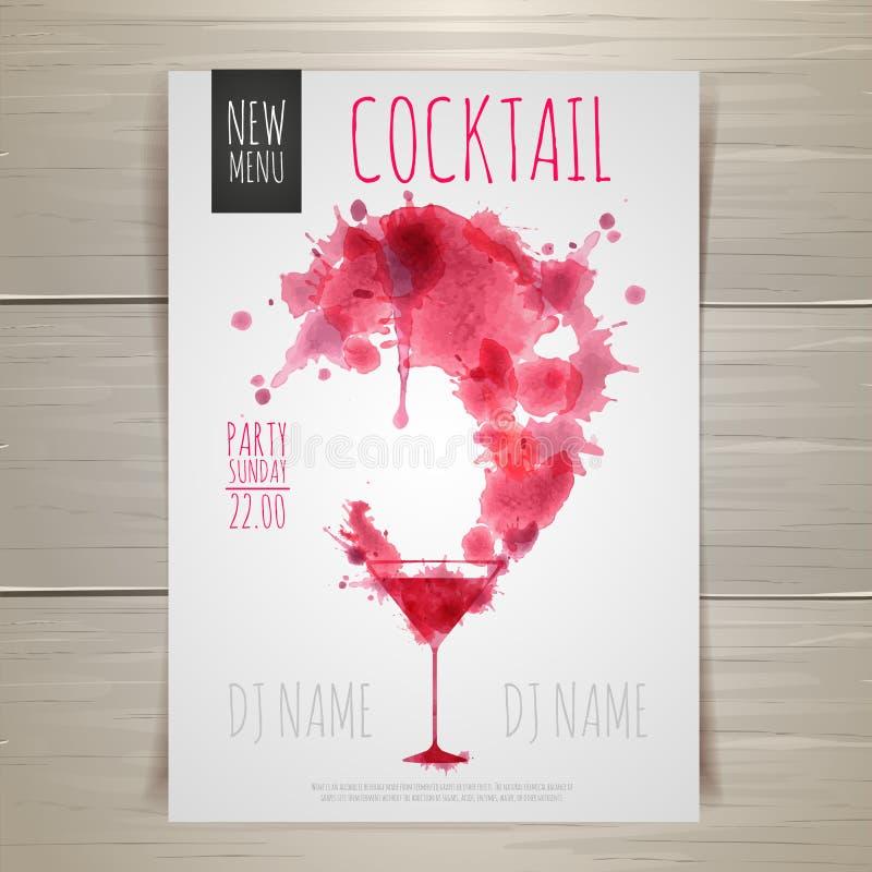 Affiche de cocktail d'aquarelle illustration stock
