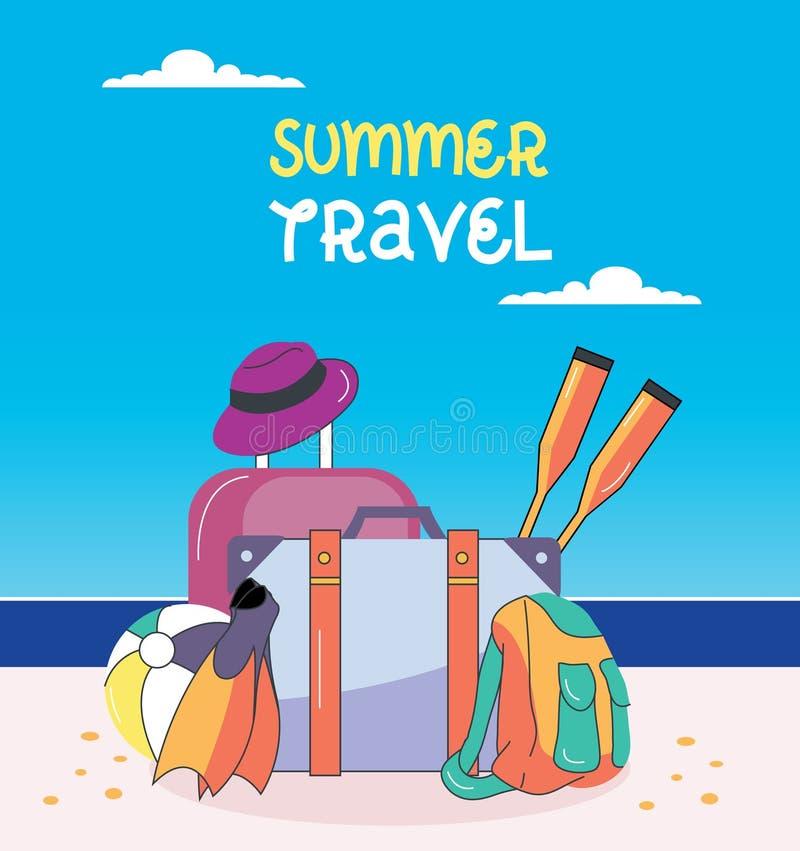 Affiche de colonie de vacances d'été et de vacances Sac de voyage, bagage d'isolement sur le fond Valise, chapeau de paille, ball illustration libre de droits