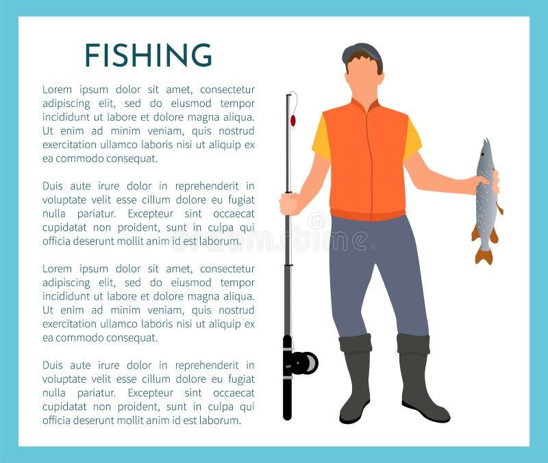 Affiche de Color Model Form de pêcheur avec l'échantillon des textes illustration libre de droits