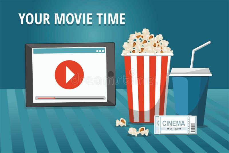 Affiche de concept de cinéma avec le comprimé, le bol de maïs éclaté, la boisson et les billets illustration libre de droits