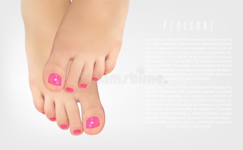 Affiche de concept de pédicurie avec les pieds femelles, salon de beauté illustration de vecteur