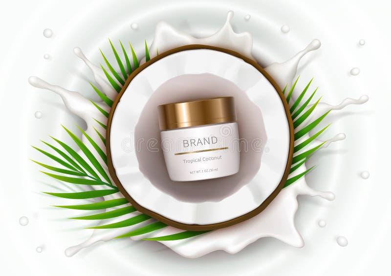 Affiche de concept pour la crème naturelle organique illustration de vecteur