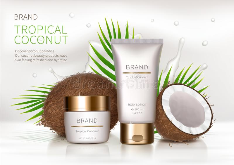Affiche de concept pour la crème naturelle organique illustration stock