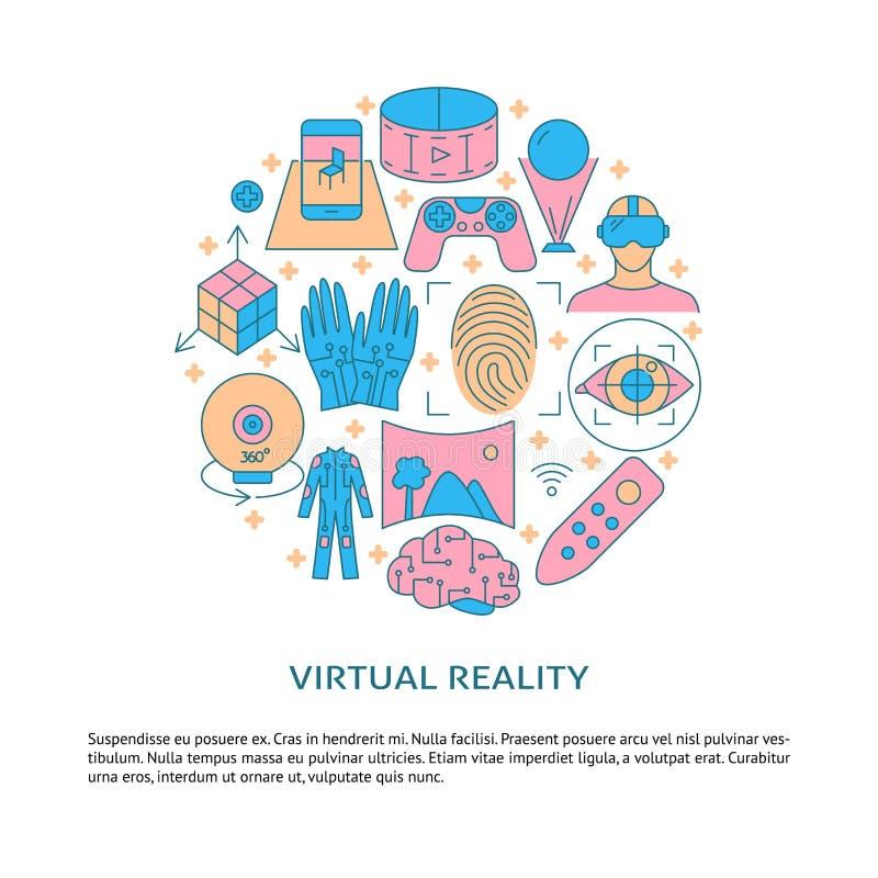 Affiche de concept de réalité virtuelle dans la discrimination raciale style illustration stock
