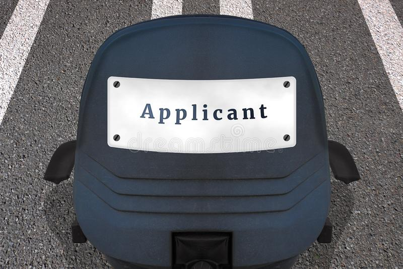 Affiche de concept de ressources humaines de recrutement DEMANDEUR des textes Chaise de bureau sur la piste marquée ou route en p illustration de vecteur