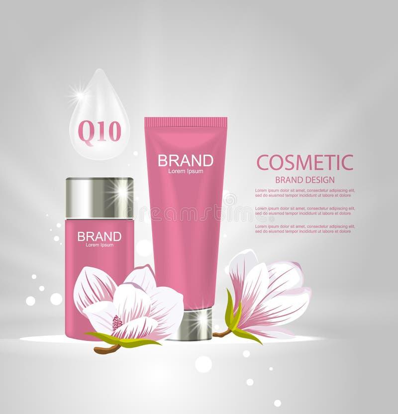 Affiche de conception pour la publicité de produit de cosmétiques avec des fleurs de magnolia illustration de vecteur