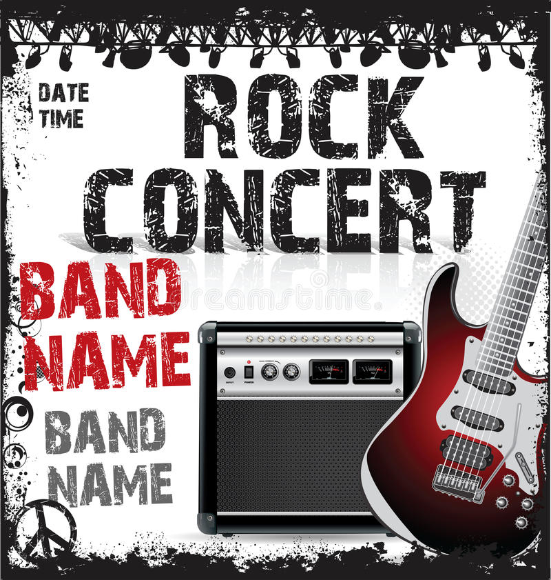 Affiche de concert de rock illustration stock