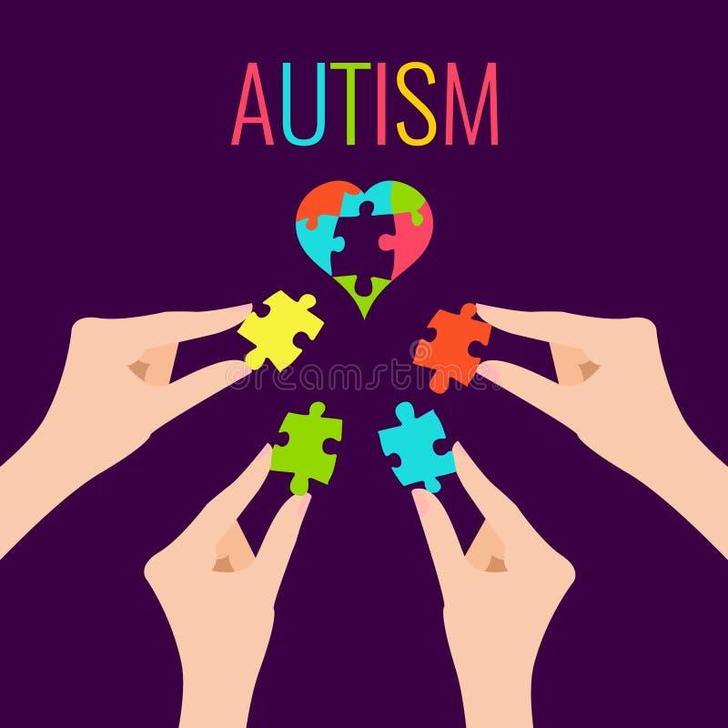 Affiche de conscience d'autisme illustration libre de droits