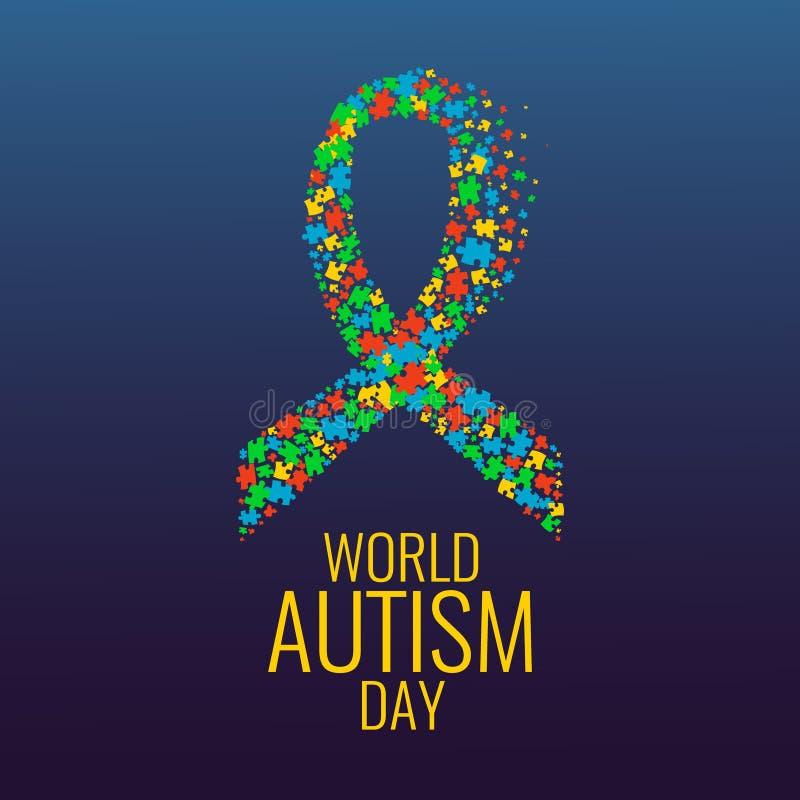 Affiche de conscience de ruban d'autisme illustration stock