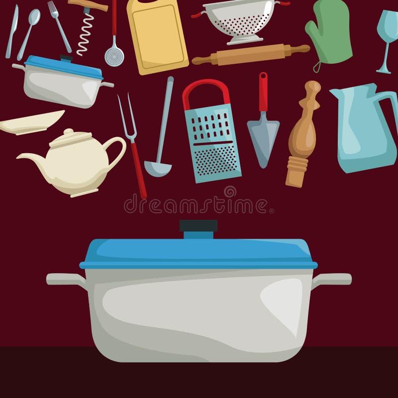 Affiche de couleur des ustensiles réalistes réglés de flottement de faire cuire la cuisine avec le pot de plan rapproché illustration libre de droits