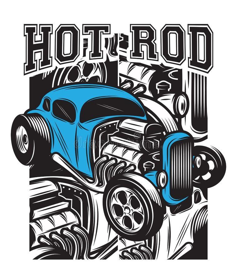 Affiche de couleur de vecteur dans le rétro style avec le hot rod illustration stock