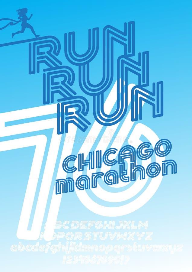 Affiche de course de marathon de Chicago illustration de vecteur