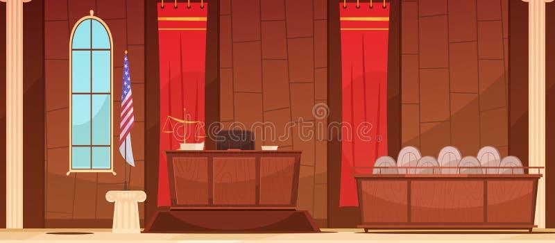 Affiche de Courtroom Sitting Retro de justice de loi illustration de vecteur