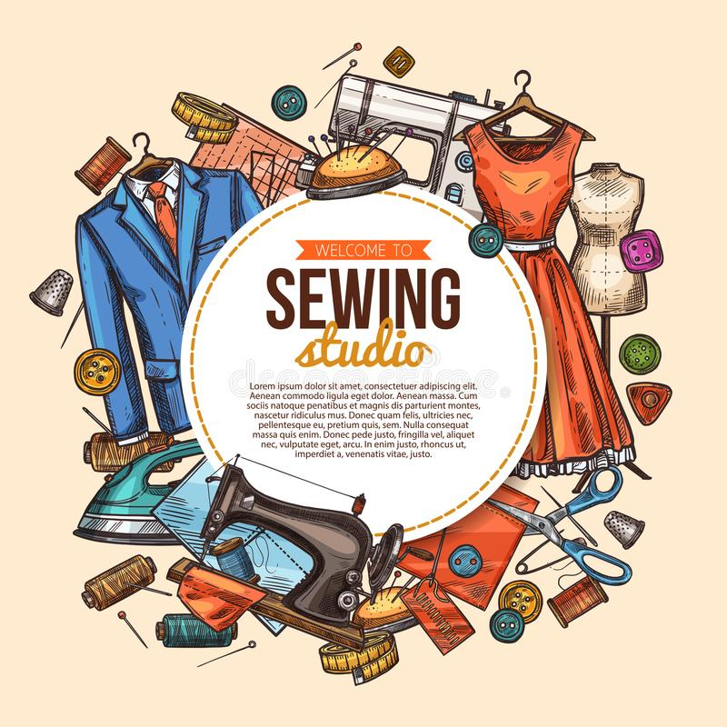 Affiche de couture de croquis de studio pour la boutique de tailleur illustration stock