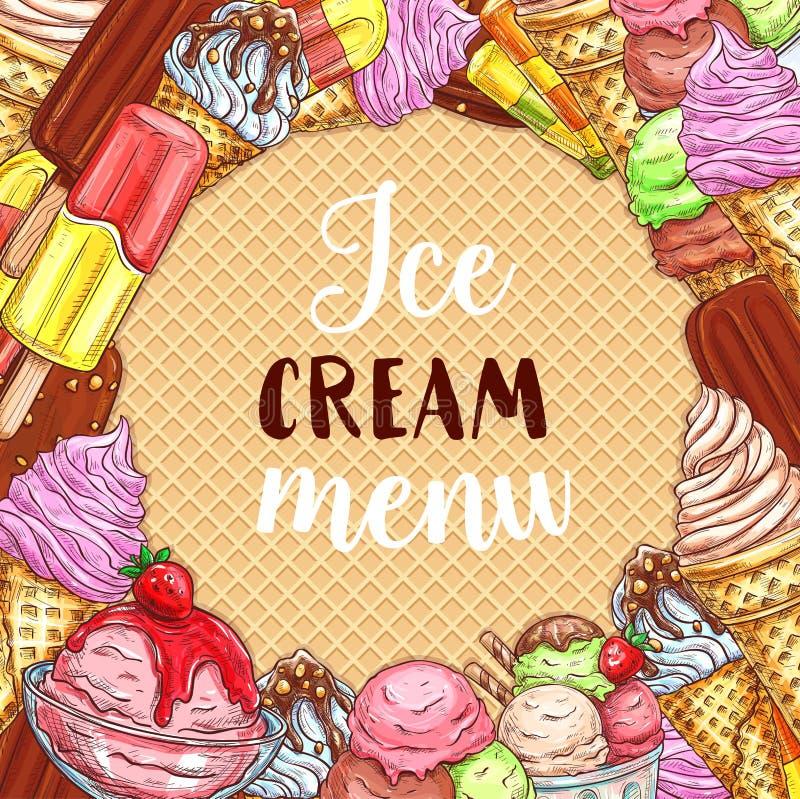 Affiche de croquis de menu de crème glacée sur la texture de gaufre illustration libre de droits