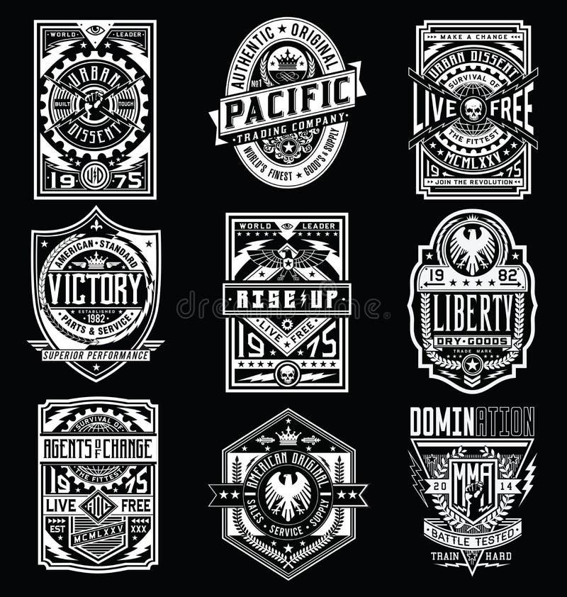Affiche de cru/ensemble de vecteur conception d'emblème/T-shirt illustration stock