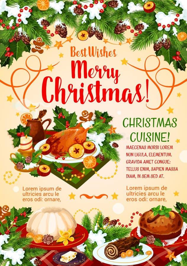 Affiche de cuisine de Noël avec le dîner de nouvelle année illustration de vecteur