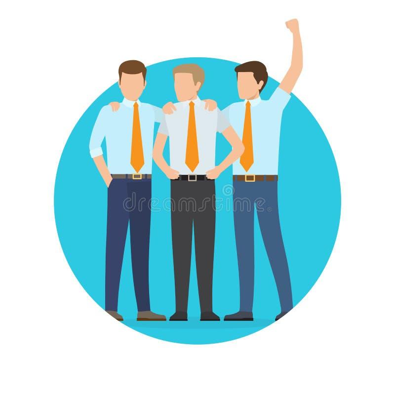 Affiche de démarrage de projet avec trois employés de bureau illustration stock
