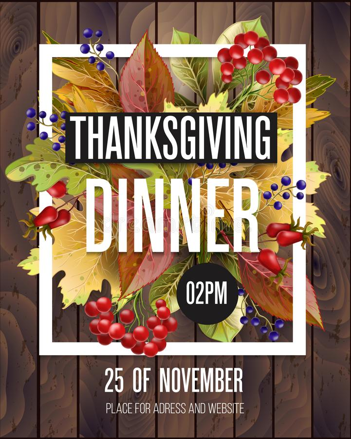 Affiche de dîner de thanksgiving avec les feuilles et la nourriture d'automne sur le fond en bois Illustration de vecteur illustration de vecteur