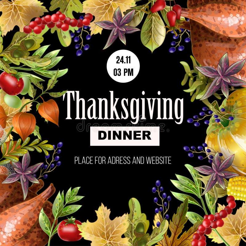 Affiche de dîner de thanksgiving avec les feuilles et la nourriture d'automne sur le fond noir Illustration de vecteur illustration de vecteur