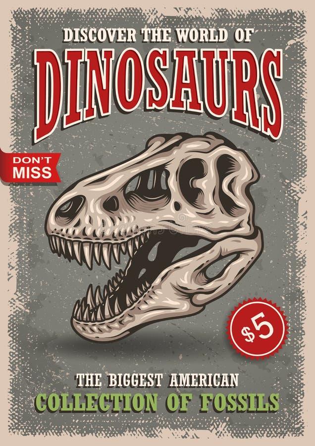 Affiche de dinosaures de vintage illustration de vecteur