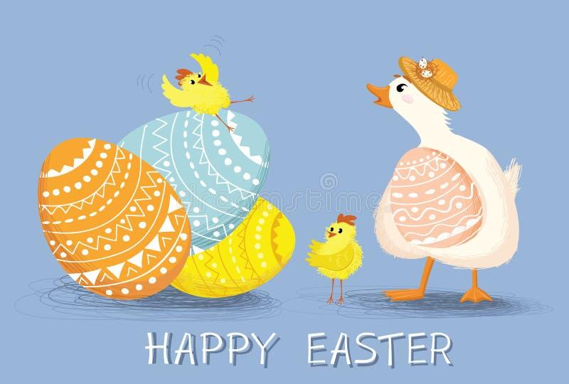 Affiche de félicitation, carte d'invitation avec le canard heureux mignon et poulet illustration libre de droits