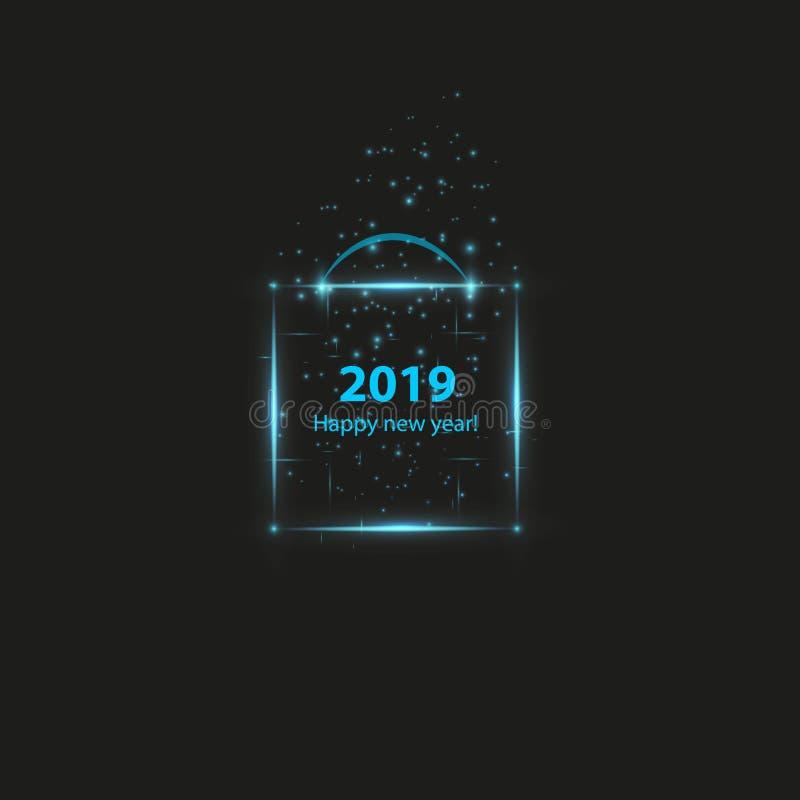 Affiche de fête de Noël avec une boîte magique bleue rougeoyante Insecte heureux de la nouvelle année 2019, carte de voeux, invit illustration libre de droits