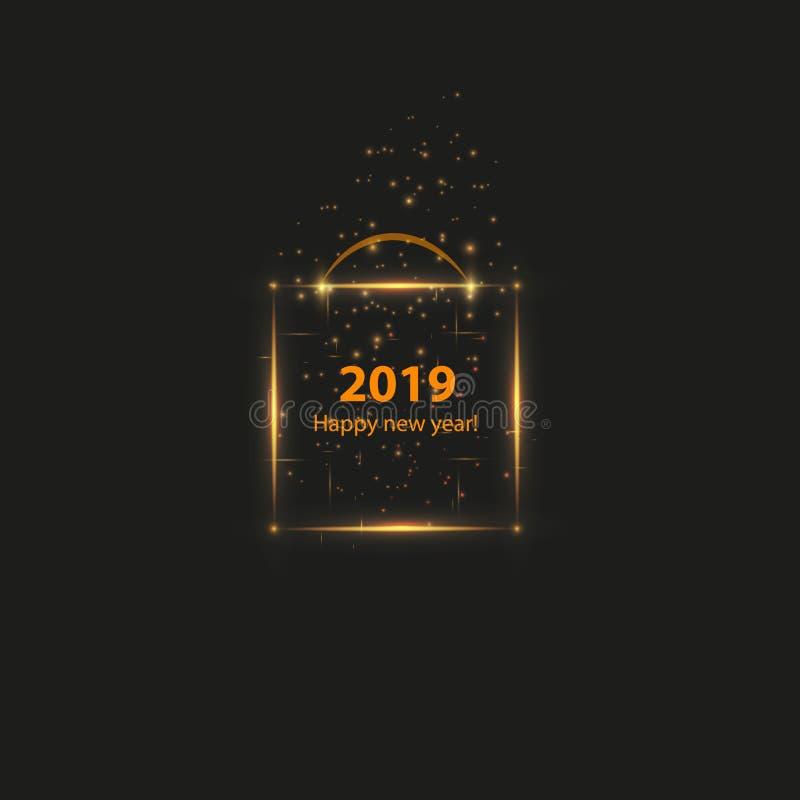 Affiche de fête de Noël avec une boîte magique rougeoyante d'or Insecte heureux de la nouvelle année 2019, carte de voeux, invita illustration de vecteur