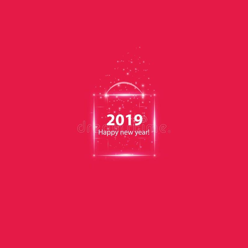 Affiche de fête de Noël avec une boîte magique rougeoyante Insecte heureux de la nouvelle année 2019, carte de voeux, invitation, illustration libre de droits