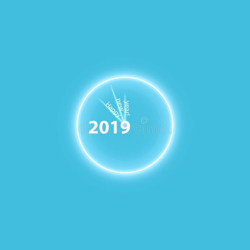 Affiche de fête de Noël avec une horloge magique rougeoyante d'or Insecte heureux de la nouvelle année 2019, carte de voeux, invi illustration stock