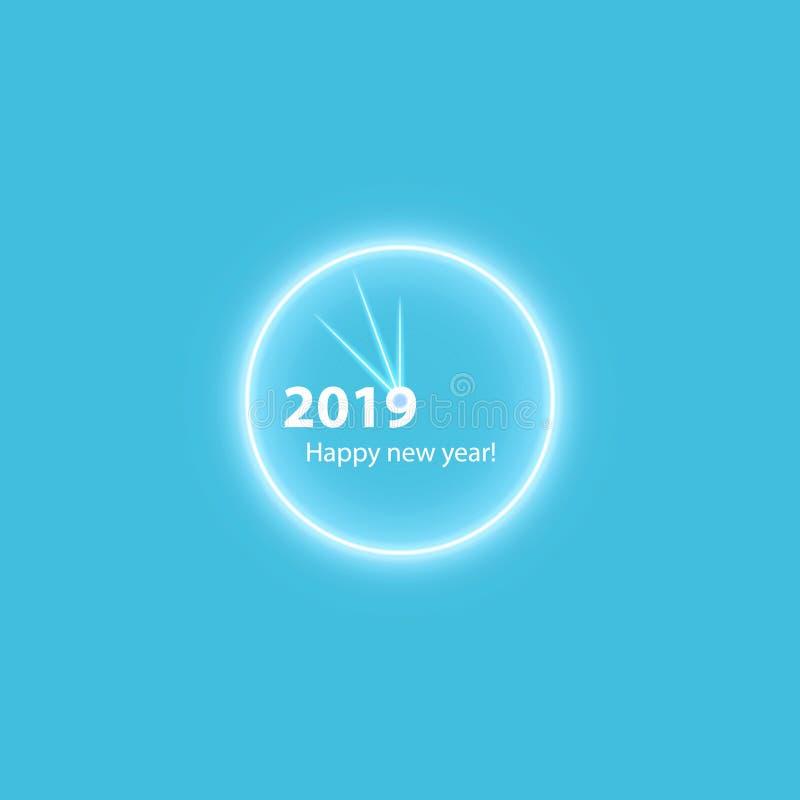 Affiche de fête de Noël avec une horloge magique rougeoyante d'or Insecte heureux de la nouvelle année 2019, carte de voeux, invi illustration libre de droits
