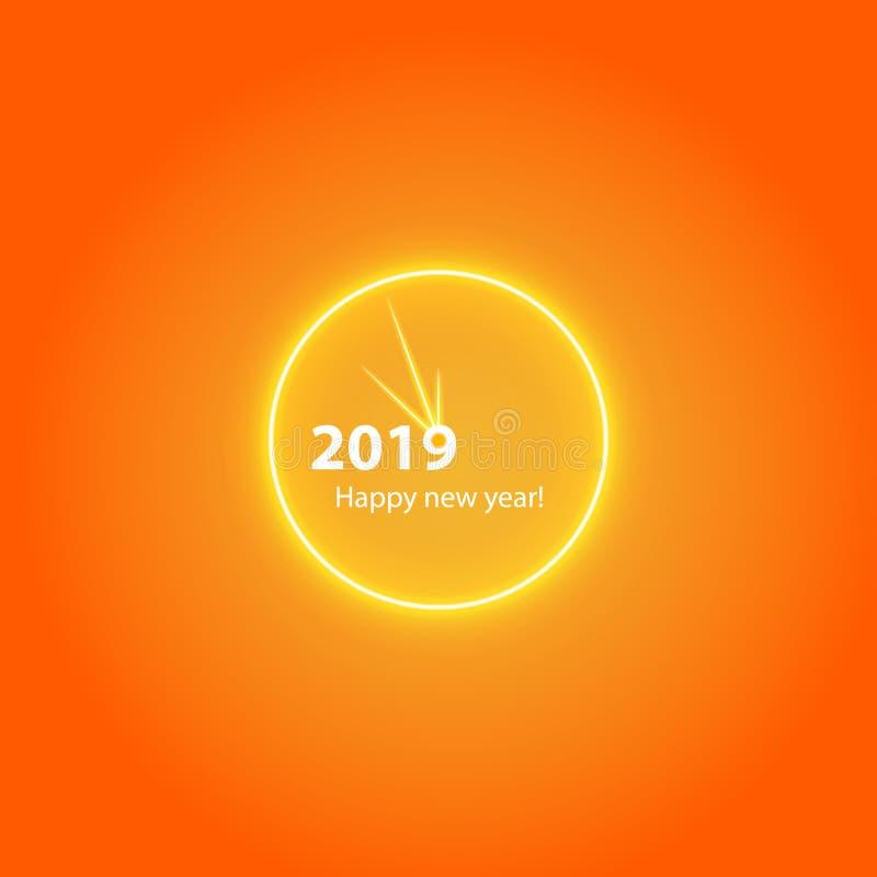 Affiche de fête de Noël avec une horloge magique rougeoyante d'or Insecte heureux de la nouvelle année 2019, carte de voeux, invi illustration de vecteur