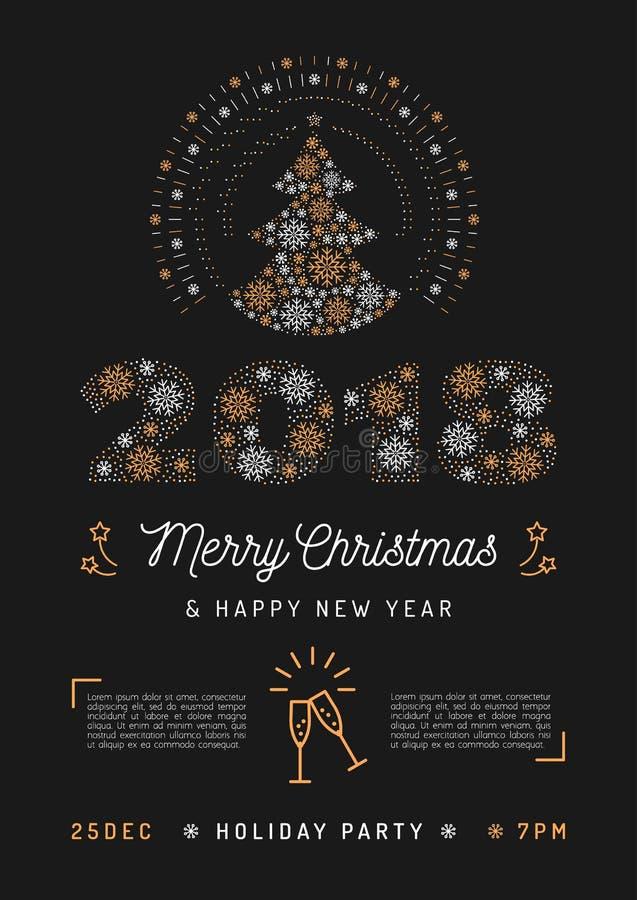 Affiche de fête de Noël et carte de la nouvelle année 2018 Arbre de Noël et numéro 2018 illustration libre de droits