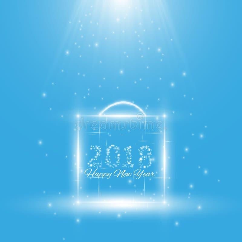 Affiche de fête de Noël Insecte heureux de la nouvelle année 2018, carte de voeux, invitation, calibre de conception de menu Illu illustration stock