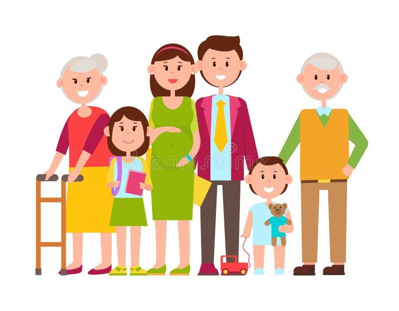 Affiche de famille d'illustration heureuse de vecteur de membres illustration de vecteur
