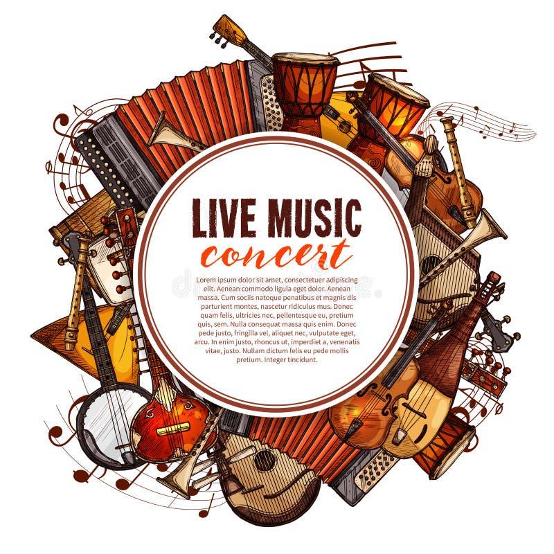 Affiche de festival de musique des instruments de musique illustration stock