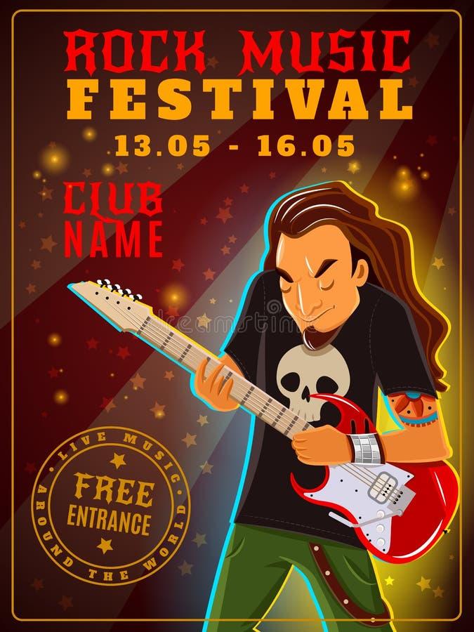 Affiche de festival de musique rock illustration stock
