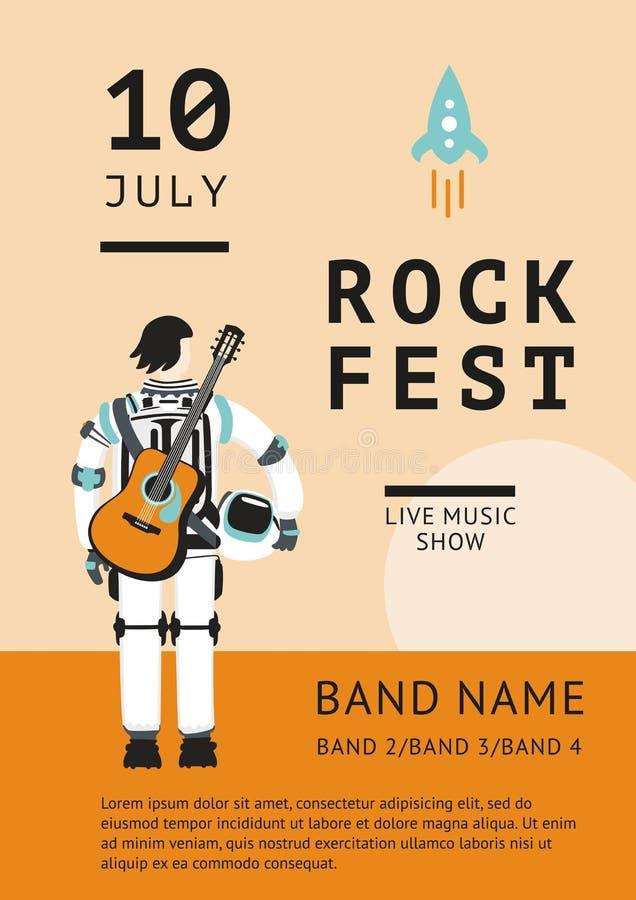 Affiche de festival de roche avec un astronaute illustration stock