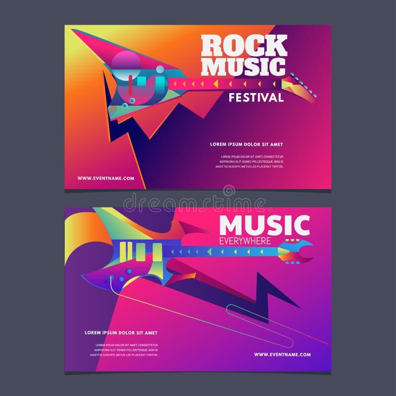 Affiche de festival de musique d'illustration ou calibre coloré de bannière illustration de vecteur
