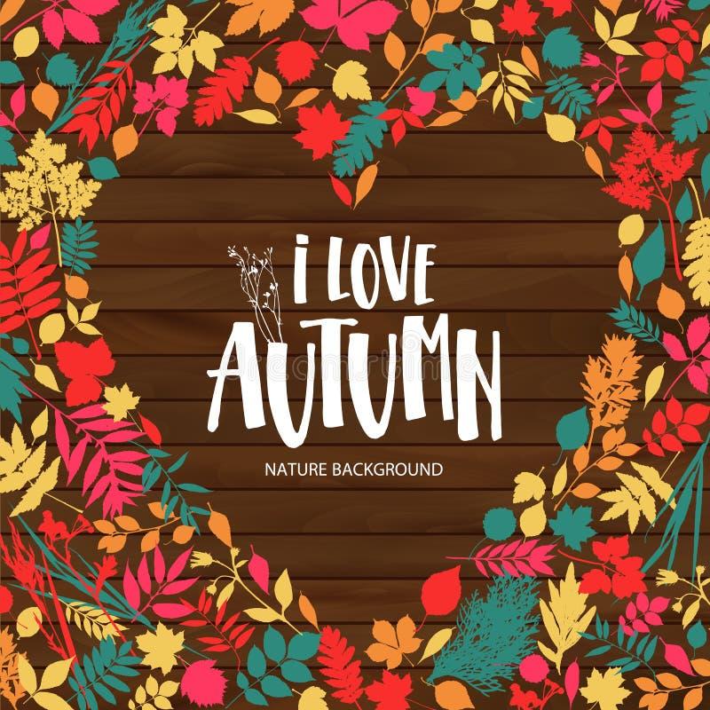 Affiche de feuille d'automne Feuilles oranges d'?rable, feuillage de septembre, plac? dans le cadre avec l'automne des textes pou illustration libre de droits