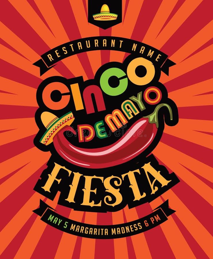 Affiche de fiesta de Cinco De Mayo illustration libre de droits