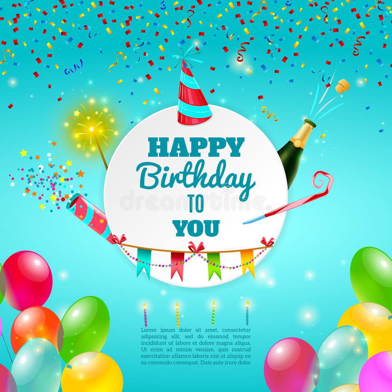 Affiche de fond de célébration de joyeux anniversaire illustration stock