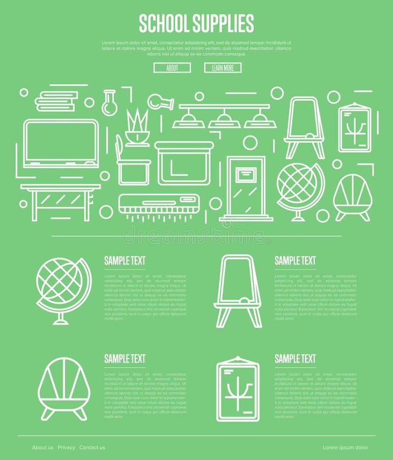 Affiche de fournitures scolaires dans le style linéaire illustration libre de droits