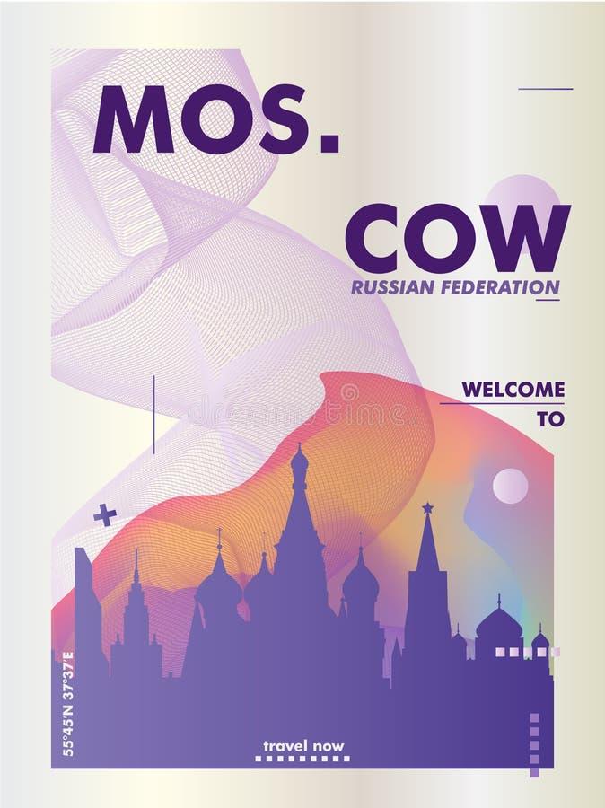Affiche de gradient d'horizon de la Russie Moscou illustration libre de droits