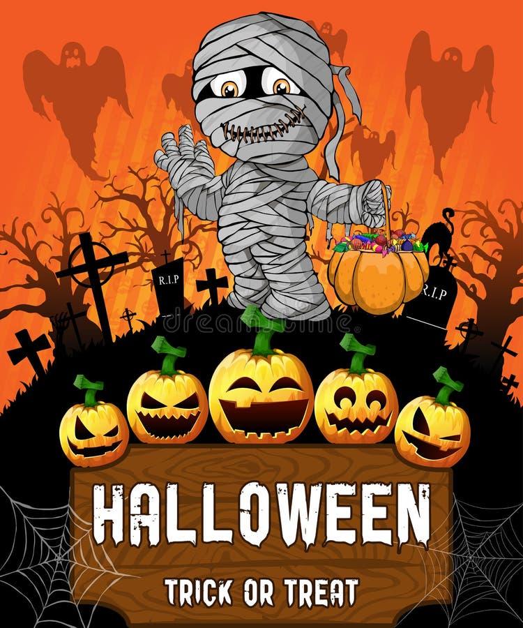 Affiche de Halloween avec la maman Illustration de vecteur illustration de vecteur