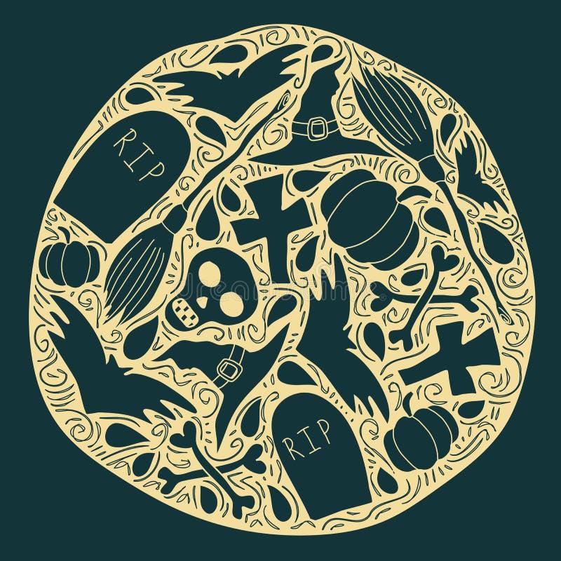 Affiche de Halloween avec les éléments traditionnels illustration de vecteur