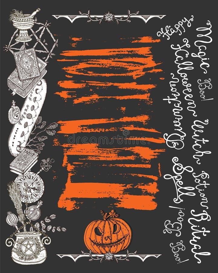 Affiche de Halloween avec les objets de sorcière, la tête de potiron et le lettrage effrayants illustration stock