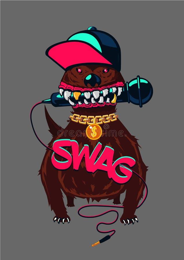 Affiche de hip-hop avec le chien Rap, culture de butin Style urbain de rue illustration stock