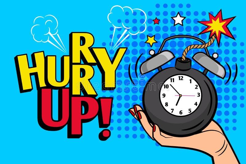 Affiche de hurryup de vintage avec l'horloge de bombe illustration libre de droits