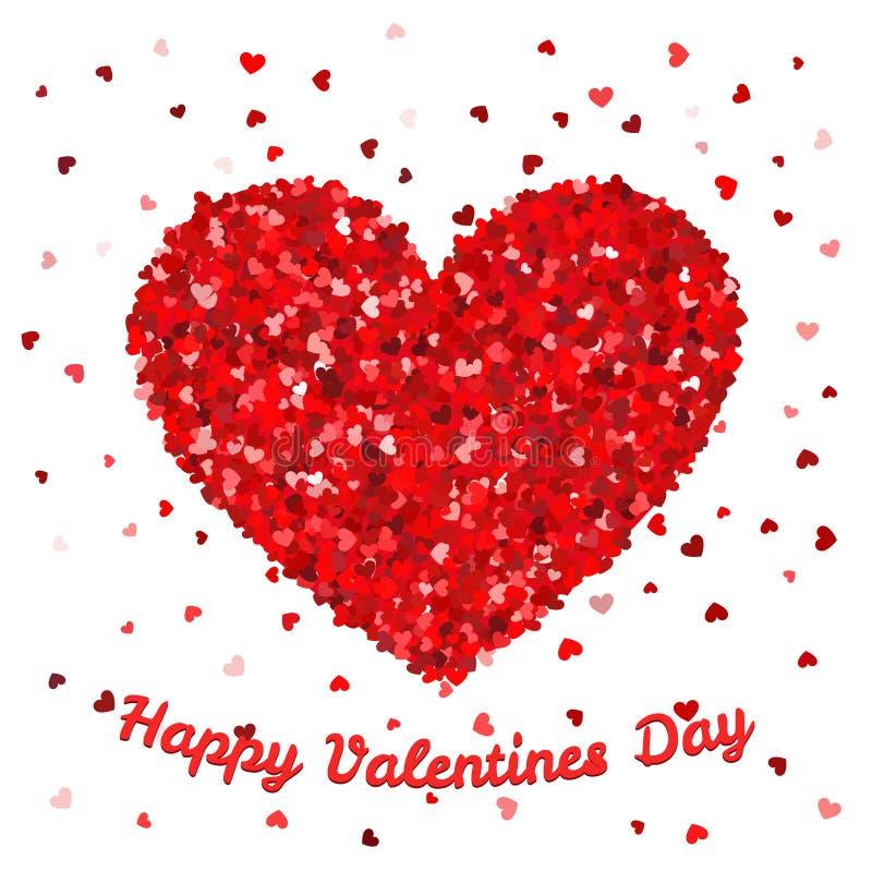 Affiche de jour de valentines ou calibre heureuse de carte Le grand coeur de petits coeurs tombent dans l'illustration de vecteur illustration de vecteur